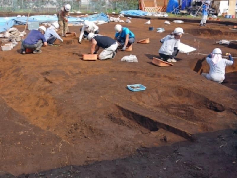 発掘調査をする人々