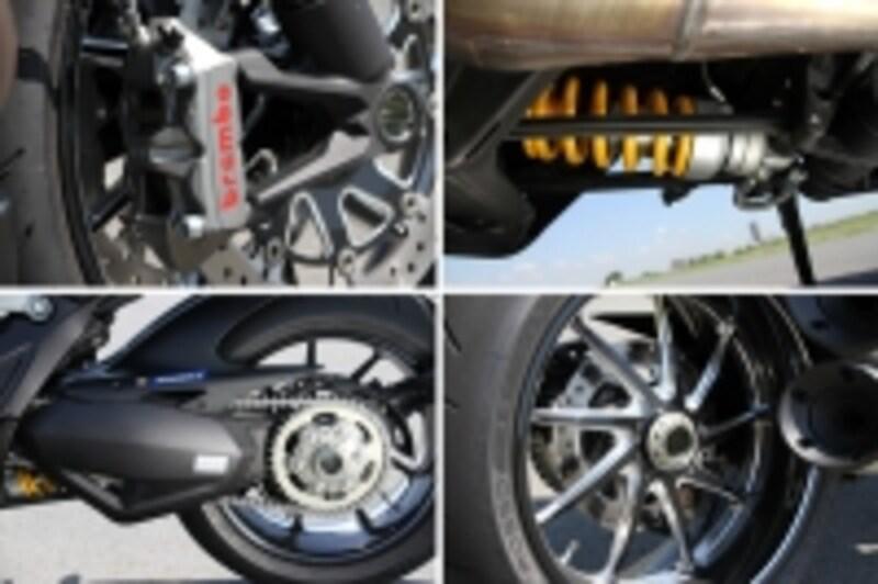 最新技術を投入したブレンボ製ブレーキに専用ホイール、オーリンズ製サスペンションなどスポーツバイクとしての追求もしているディアベルカーボン