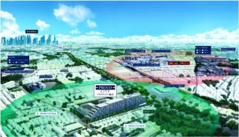 現地周辺イメージイラスト(※2012年11月に撮影した航空写真を基に描き起こしたもので実際とは異なります)