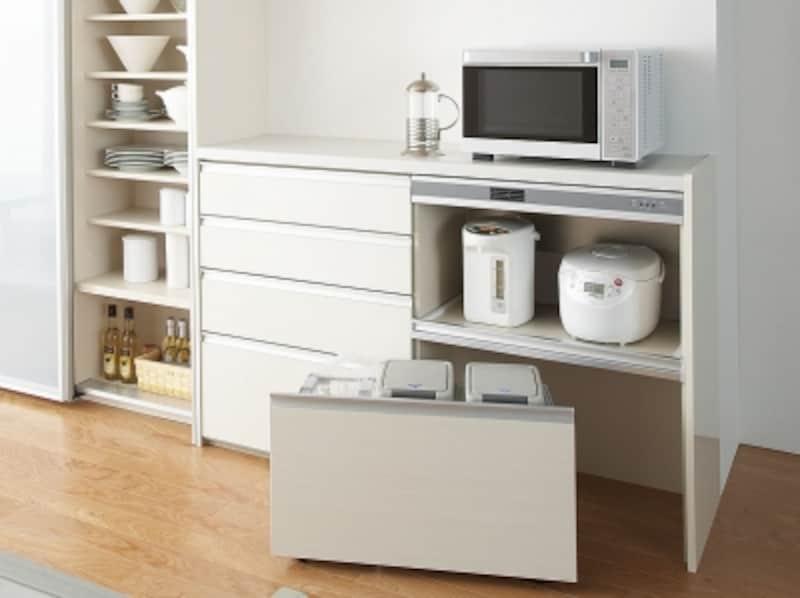ゴミ箱をすっきりと収納することができるユニットも用意されている。家電収納蒸気排出ユニット付。[アレスタ]undefinedLIXILundefinedhttp://www.lixil.co.jp/