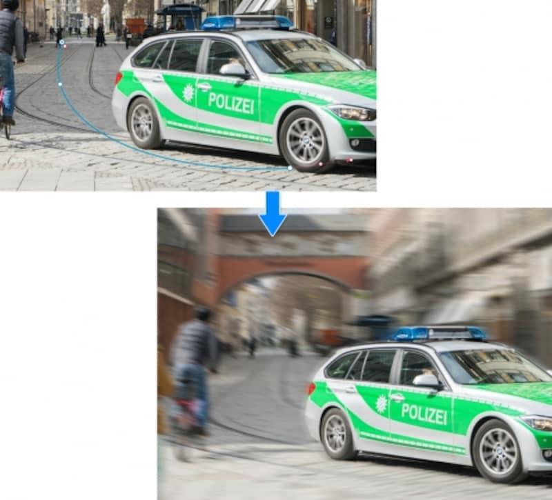 青い曲線の「パス」を自由な形にして、ぼかしの方向や量を調整することができます。スピード感のある画像をつくるときにはとても便利なツールです。