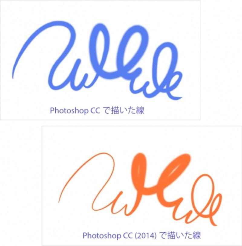 左がPhotoshopCCで描いた線、右がPhotoshopCC(2014)で同じように描いた線。右の方が繊細な線から太い線への移行が滑らか。