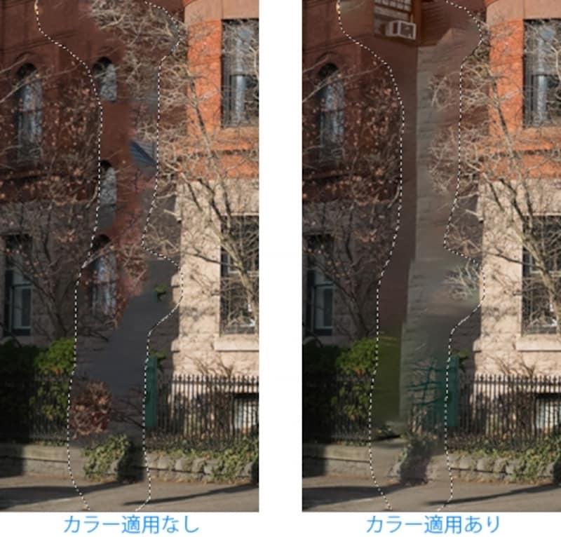 「カラー適用なし」と「カラー適用あり」で処理した比較。