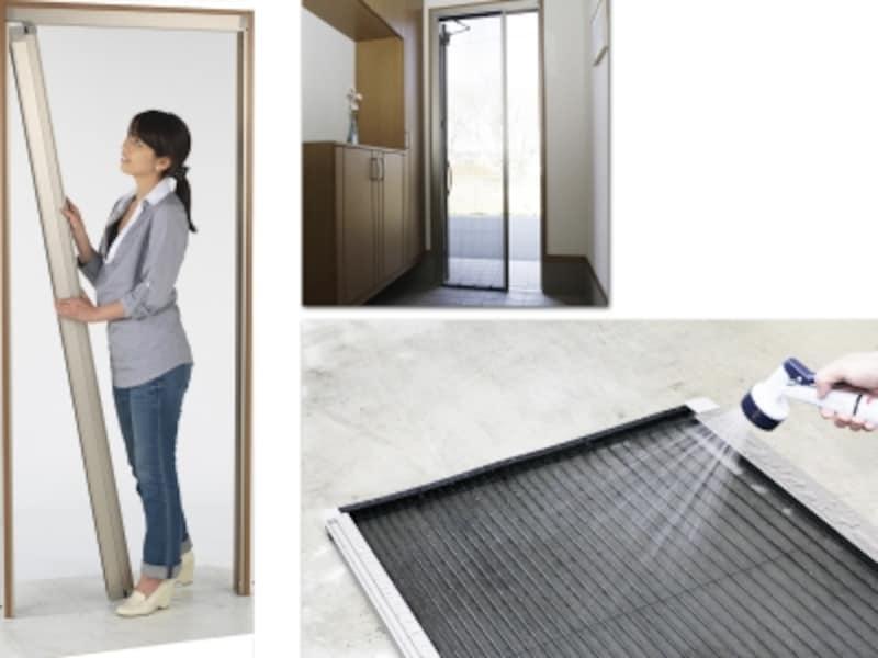 外せる洗える玄関網戸