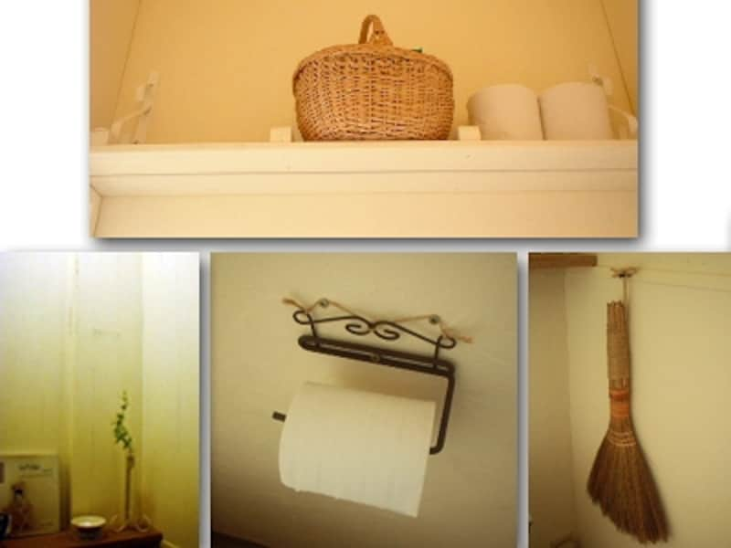 前ページのシャビーシックなトイレの細部。ホルダーはアイアン、棚は塗装、頭の上には籐カゴ(DIYリフォーム実例!大変身!素材感を生かしたトイレより)
