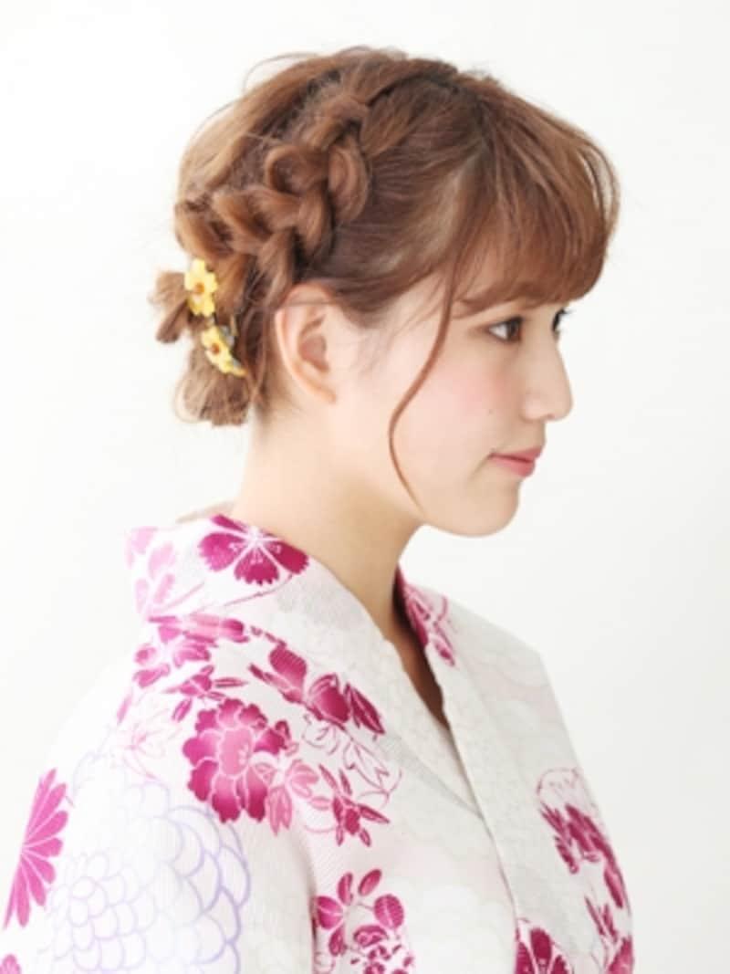 ミディアム浴衣・編み込みで作る清楚なまとめ髪