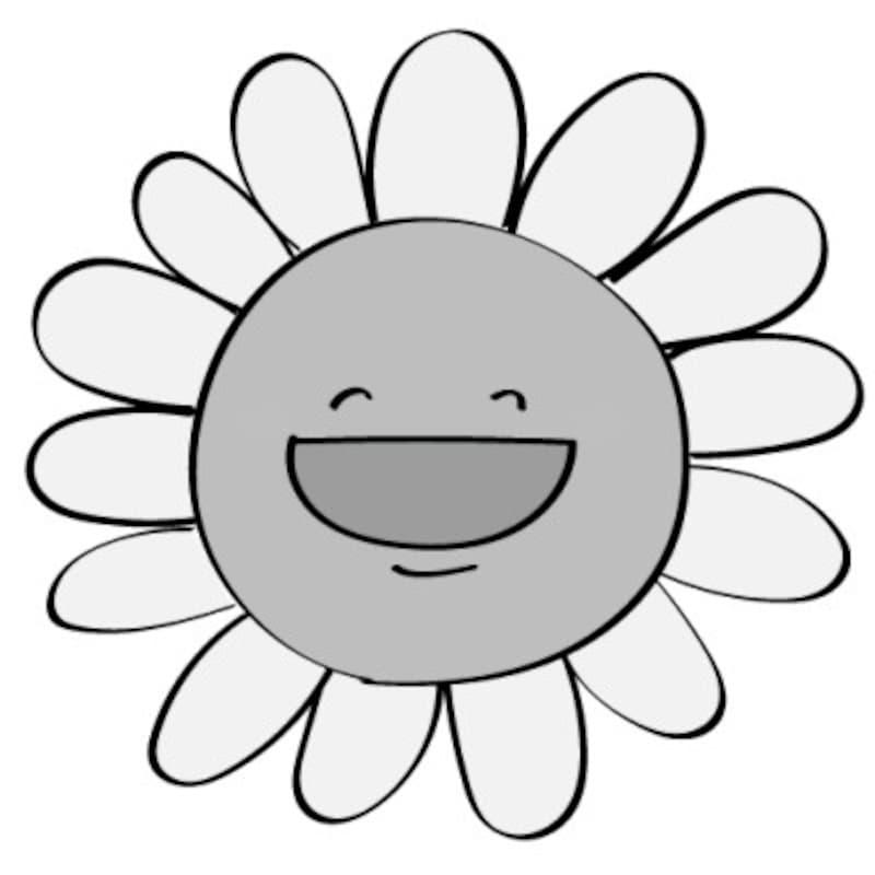 暑中見舞い イラスト 無料 フリー ひまわり 夏 白黒