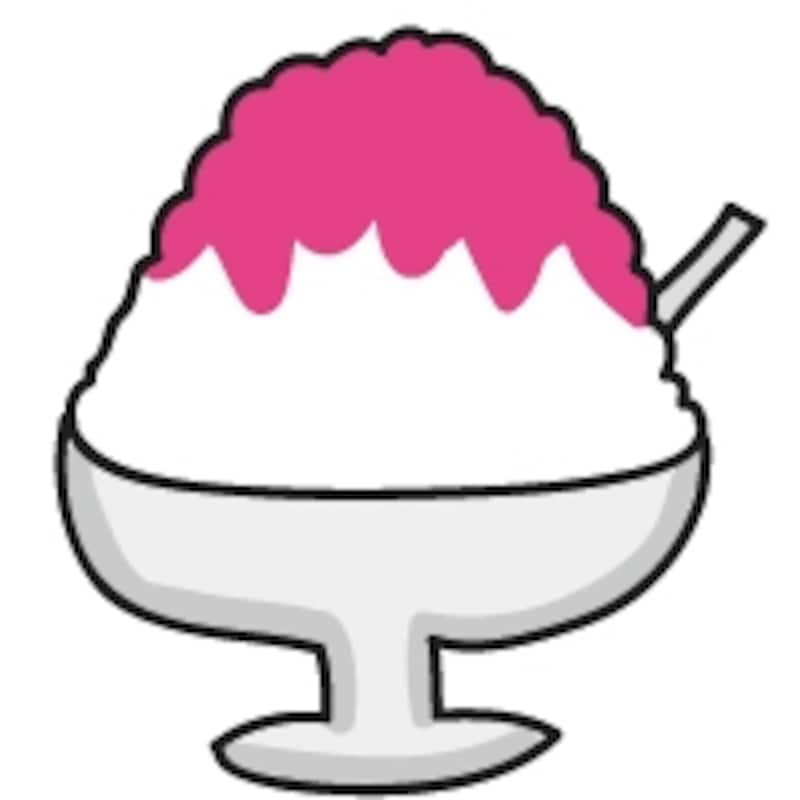【カラー】お祭りの屋台やおやつの定番、いちごのかき氷です。