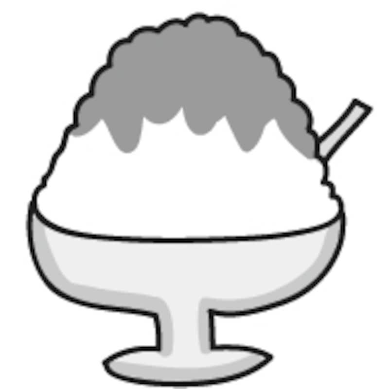 【モノクロ】お祭りの屋台やおやつの定番、いちごのかき氷です。