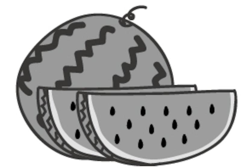 【モノクロ】夏に食べたい果物、スイカです。