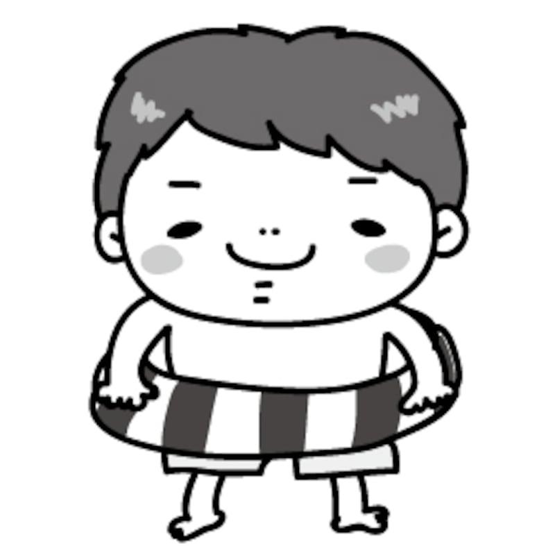 【モノクロ】浮き輪をもって、海で遊ぶ準備がばっちりな男の子です。