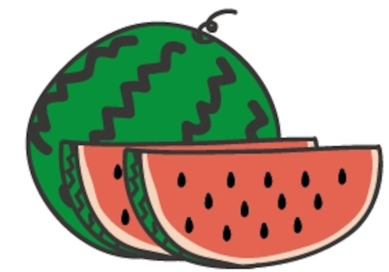 【カラー】夏に食べたい果物、スイカです。