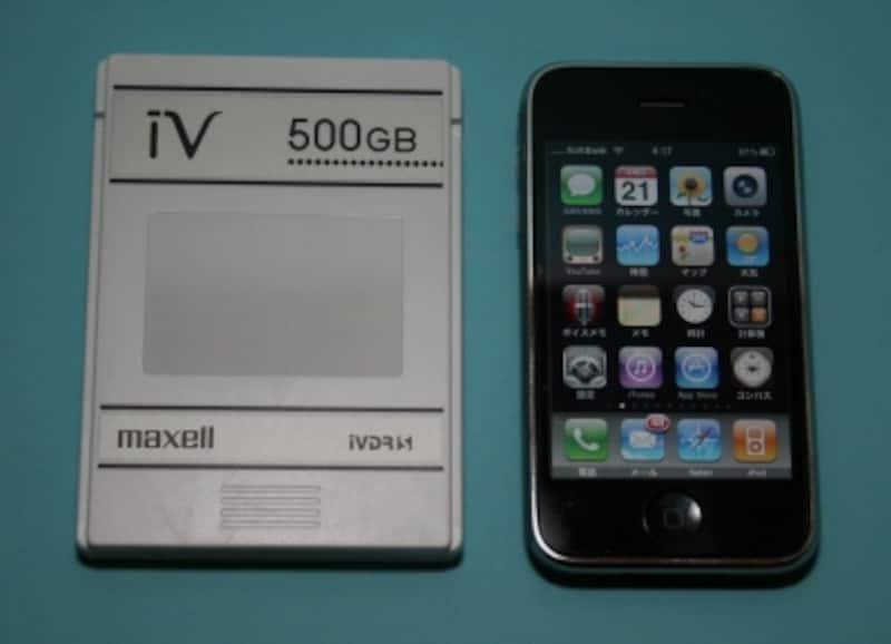 iVDRカセット。iPhoneと比較すると、そのコンパクトさがわかる。