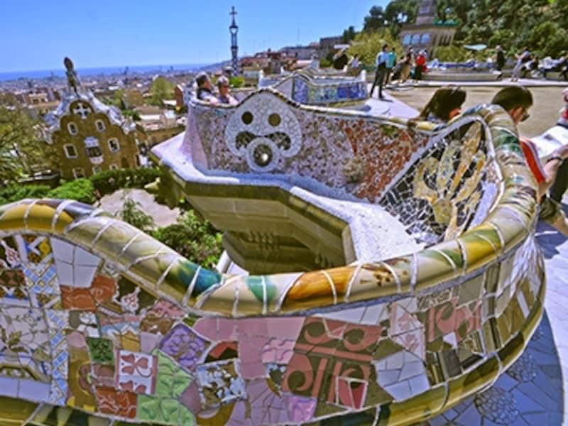 グエル公園、ギリシア劇場上のテラス