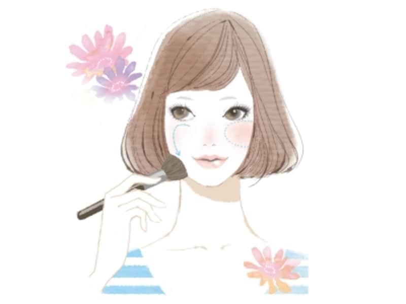 顔の輪郭をメイクで左右対称にする方法