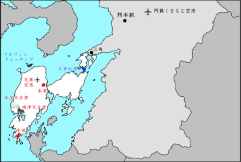 天草島内の地図