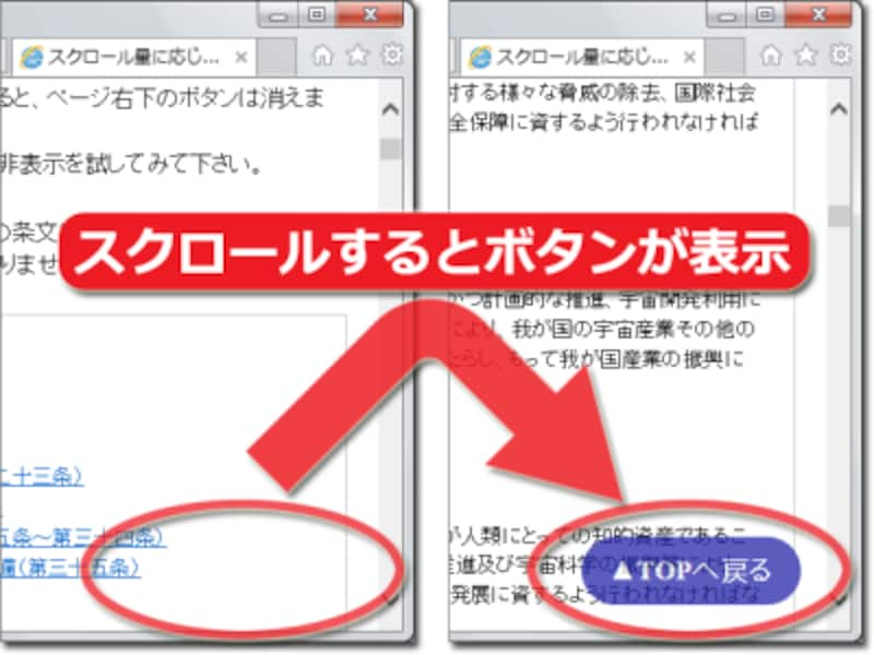 Webページをある程度スクロールすると、動的に「トップに戻る」ボタンが表示される例
