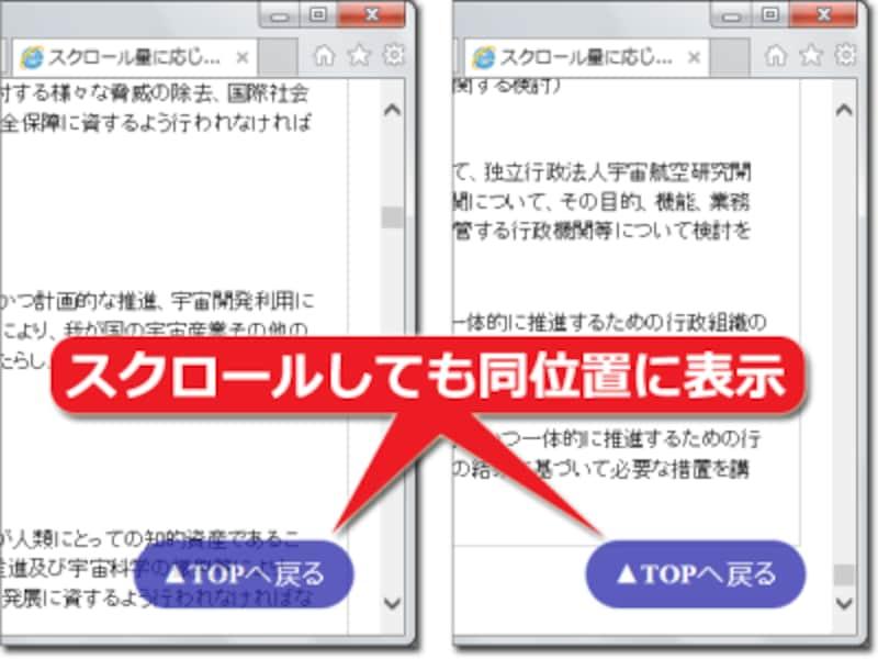 Webページをどれだけ下方向にスクロールしても、「トップに戻るボタン」はウインドウ内の同じ位置(右下)に固定表示される