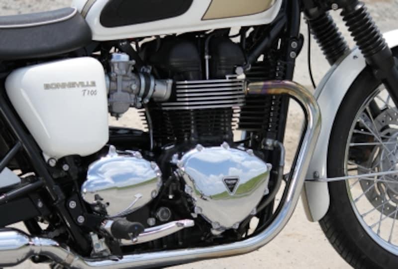 ボンネビルT100のバーチカルツインエンジン