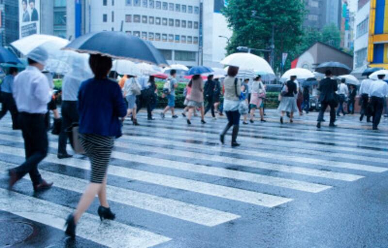 雨のなかを歩くこともあります。