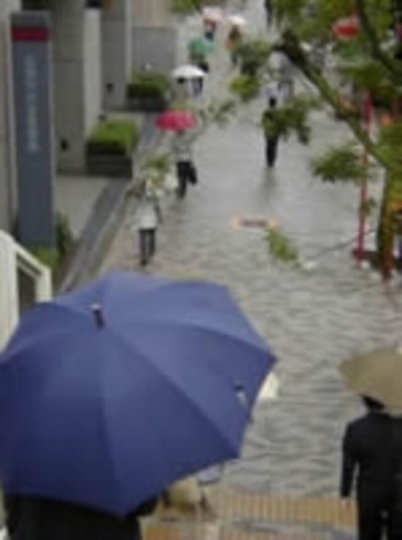 傘をさし歩くひとたち
