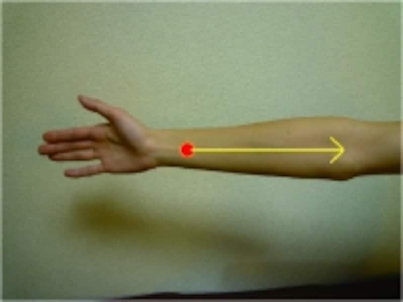 『内関』から肘までマッサージ