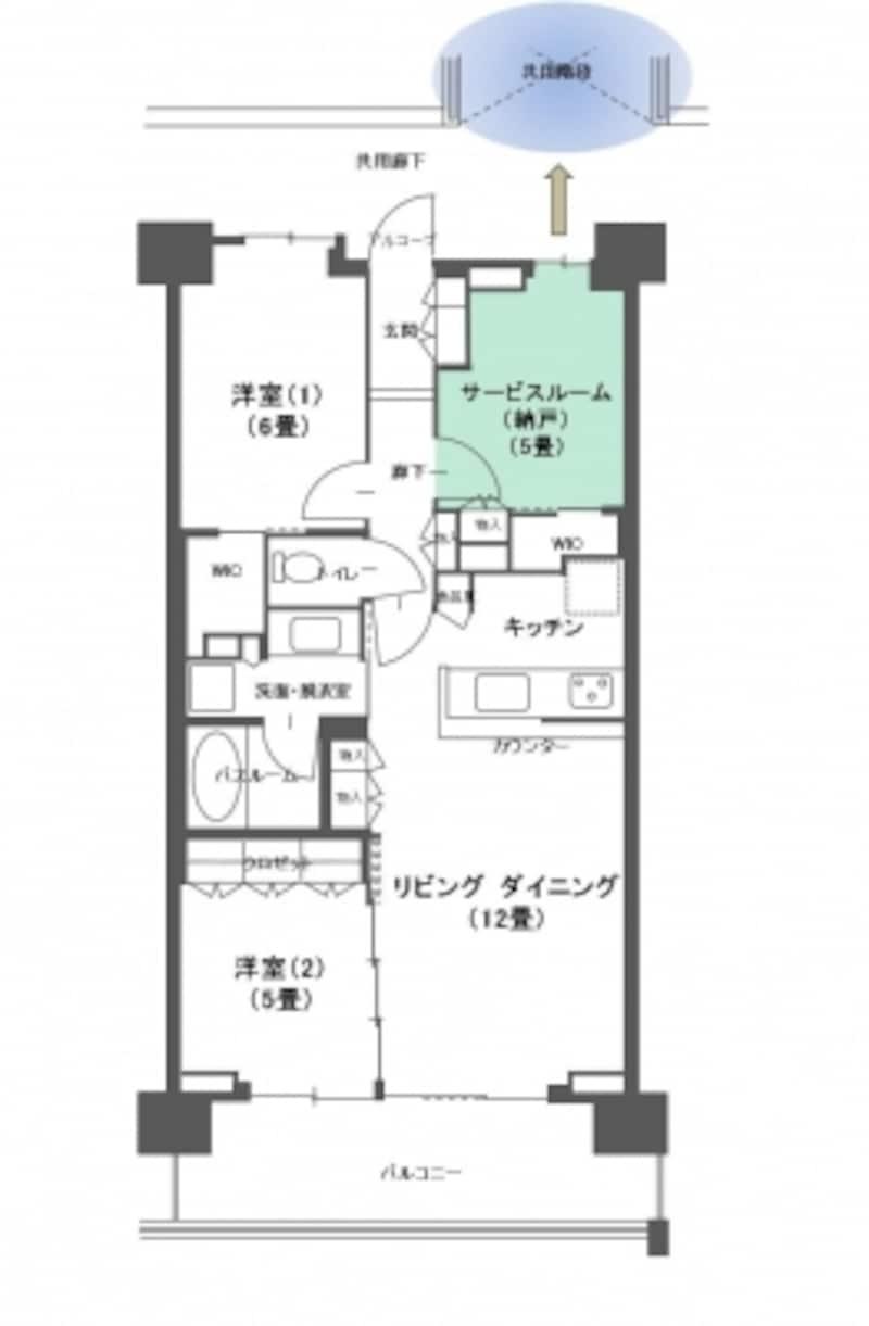 【図1】Sのある間取り例。グリーンの着色された部屋が「S」