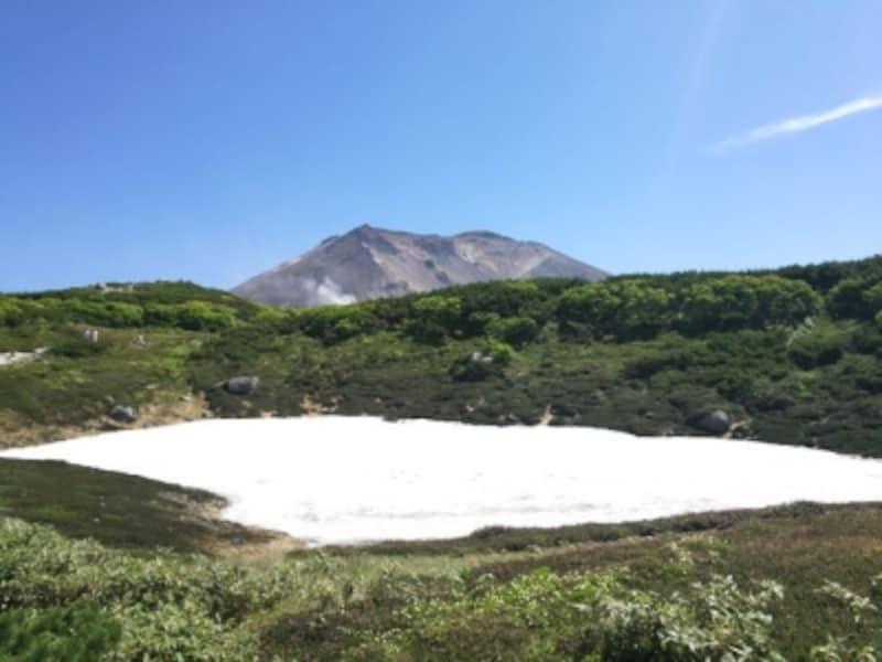 姿見駅の前から望む旭岳