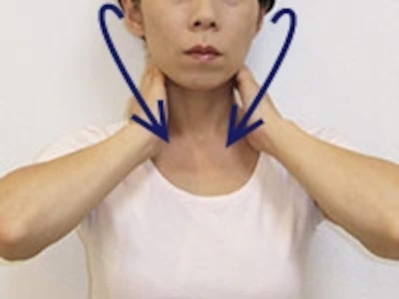 首の後ろから鎖骨の付け根に向かって、優しくなでるように
