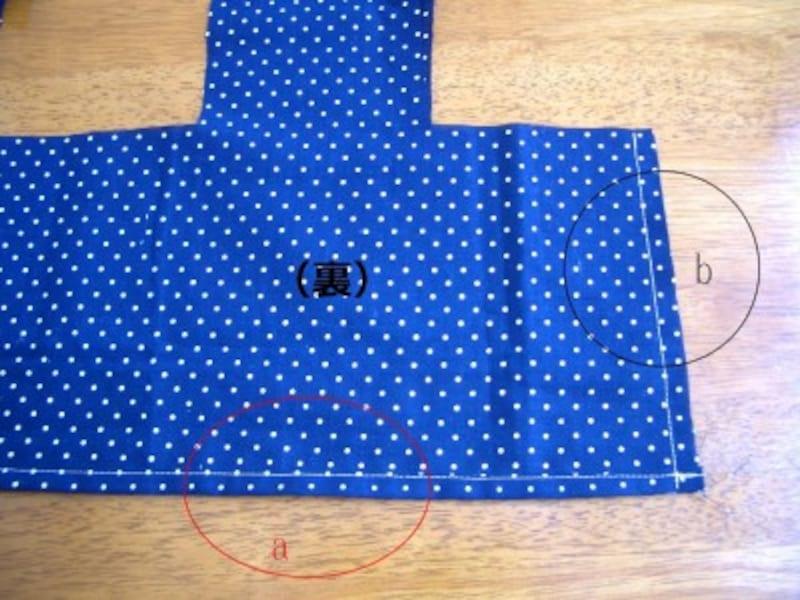 下部の三つ折縫いと端の縫い合わせ