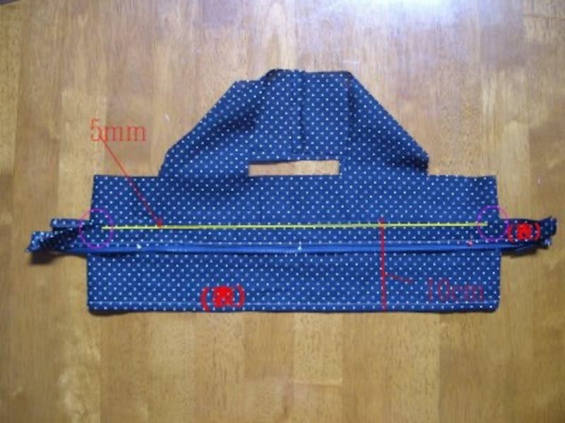 内側布にファスナーを縫いつける