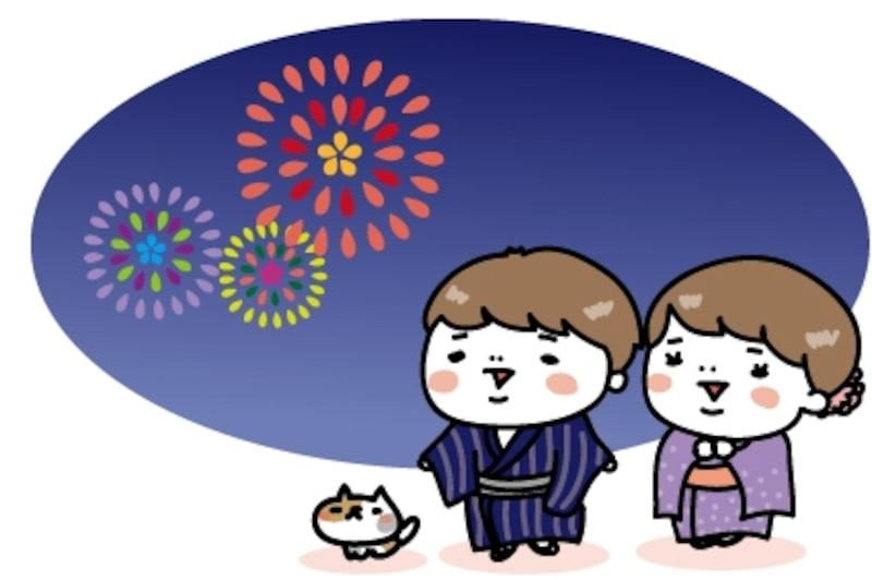 【カラー】花火大会を見物する子どもたちとネコです。