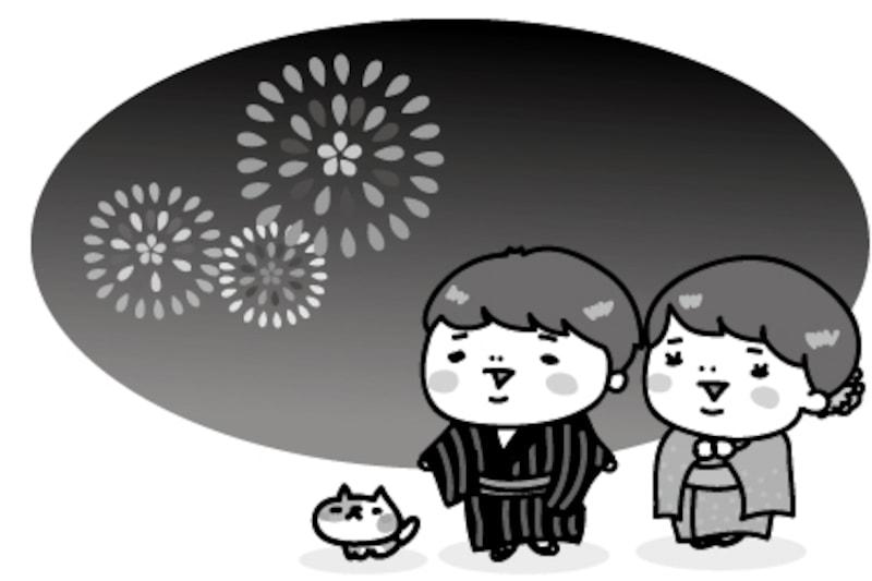 【モノクロ】花火大会を見物する子どもたちとネコです。