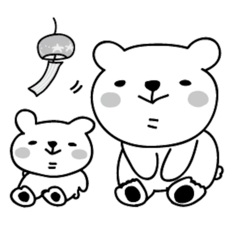 【モノクロ】涼をとるシロクマの親子です。