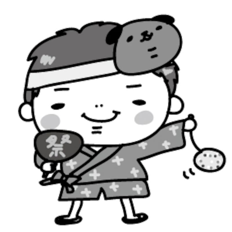 【モノクロ】甚平を着て、祭りを楽しむ男の子です。