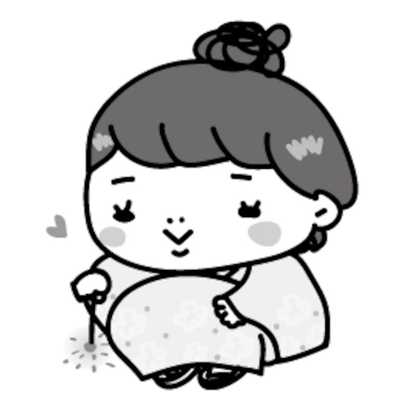 【モノクロ】浴衣を着て、線香花火を楽しむ女の子です。
