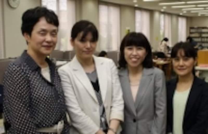 左から松尾和枝教授、山田小織講師、山下理恵子助教、緒方智美助手