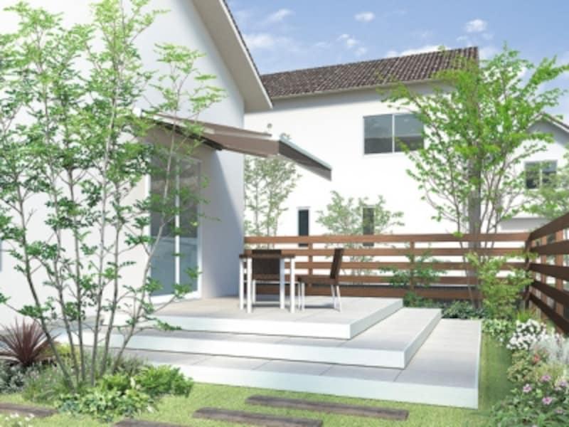 一戸建ての醍醐味である庭をもうひとつのリビングと活用しても。[EXSIORタイルデッキ]LIXILundefinedhttp://www.lixil.co.jp/