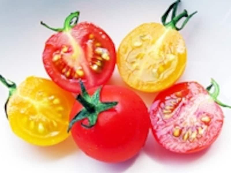 黄色やオレンジなど、色や形がいろいろあって、品種を選ぶだけでも楽しいミニトマト