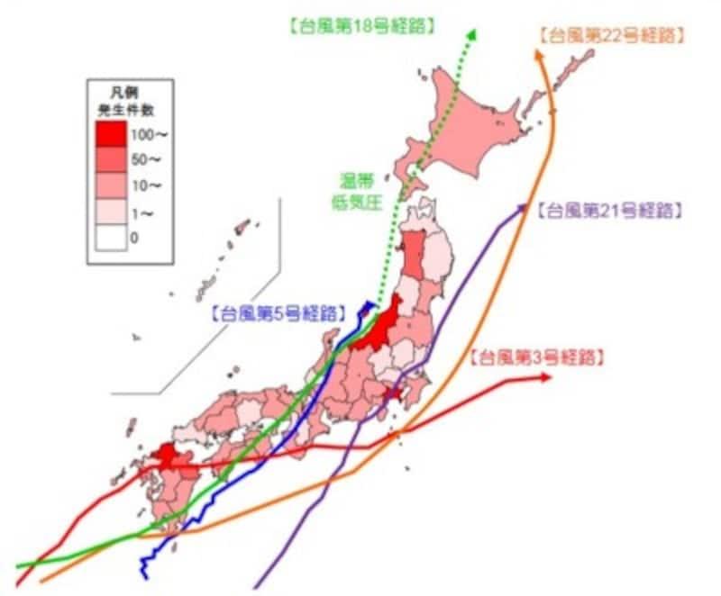 平成29年 全国の土砂災害発生状況(出典:国土交通省)