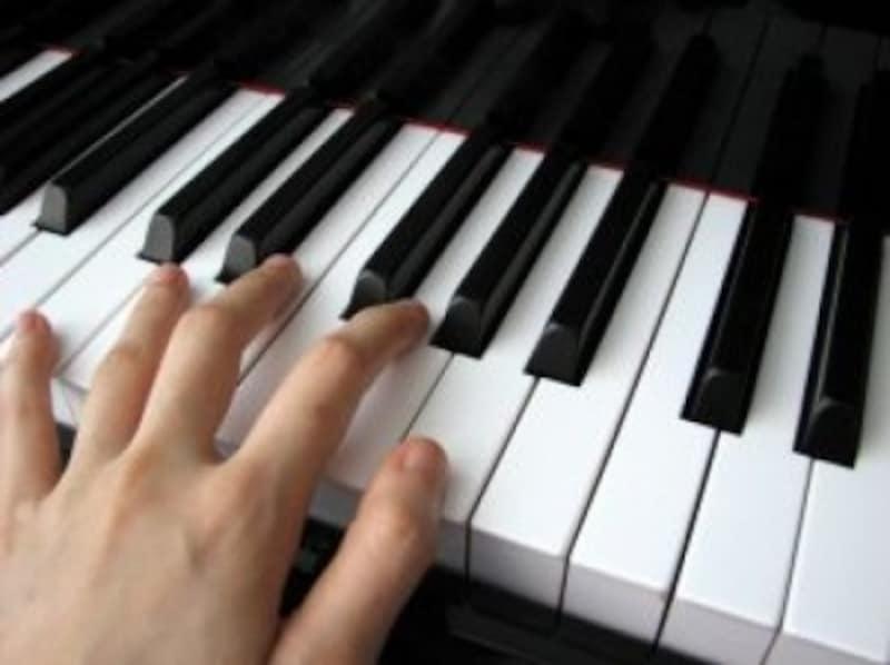 鍵盤と手の写真