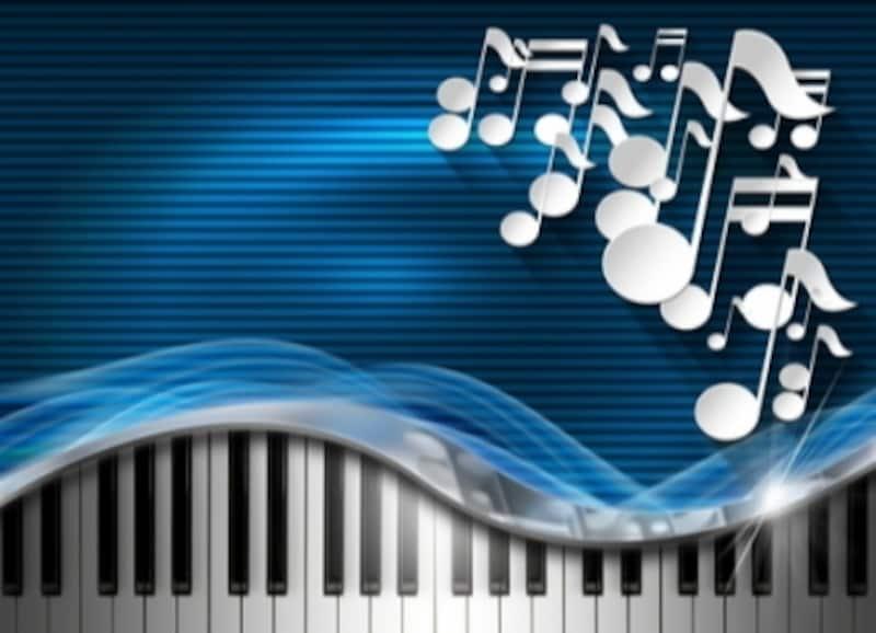 鍵盤と音符のイラスト
