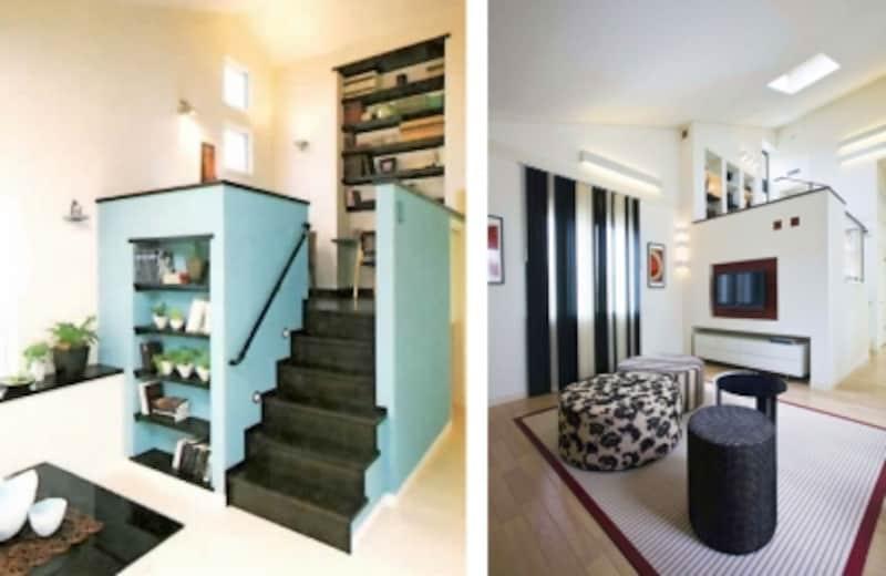 部屋の一角にスキップフロアを設け、スキップ上部を書斎コーナー、下部を収納に