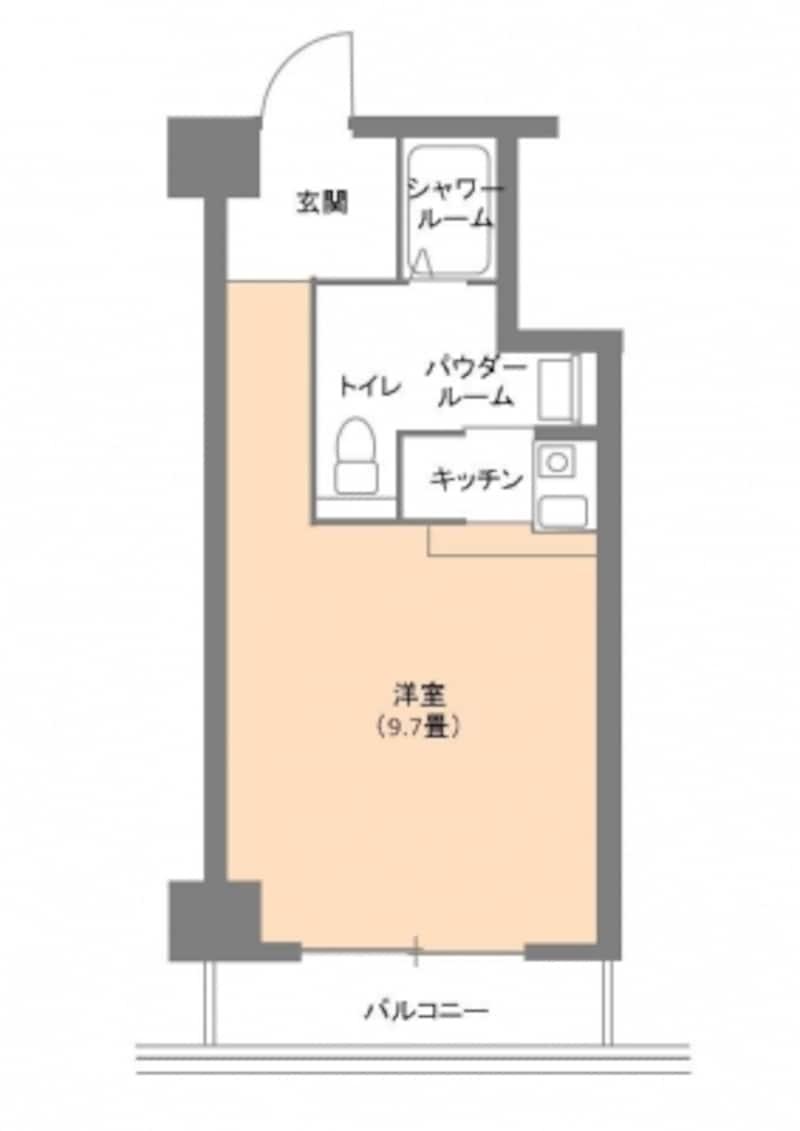 【図1】ワンルームの間取り例。専有面積26.2m2。