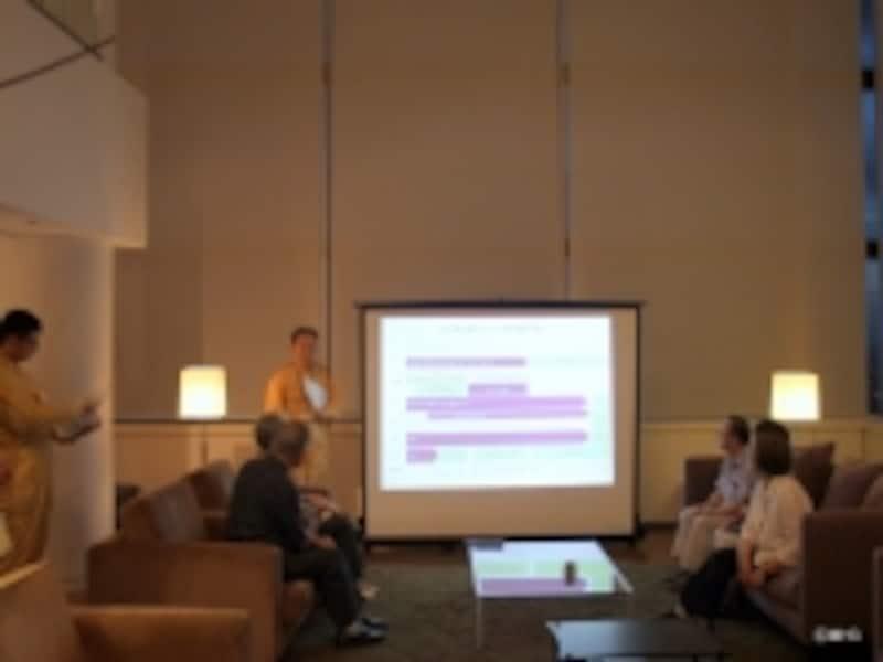 イベント冒頭のプログラムは「六本木ヒルズ」防災対策の概略の説明