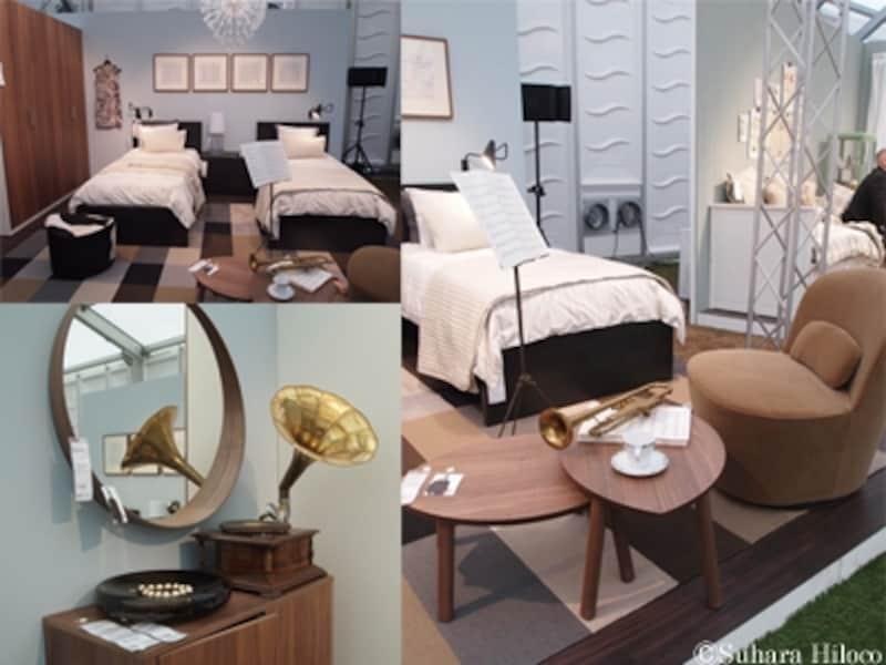 ツインタイプのベッドルームインテリア収納