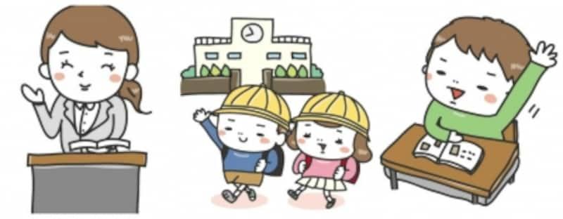 学校生活のイラストカット集【白黒・カラー】