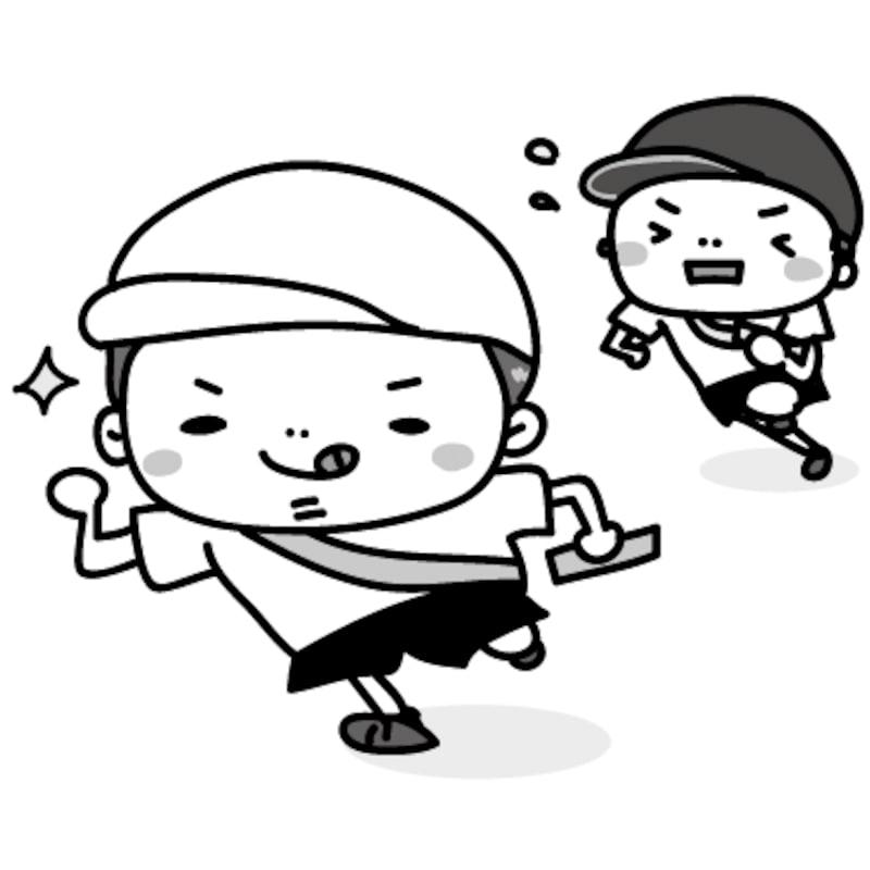 かけっこ 運動会 イラスト 白黒 かわいい