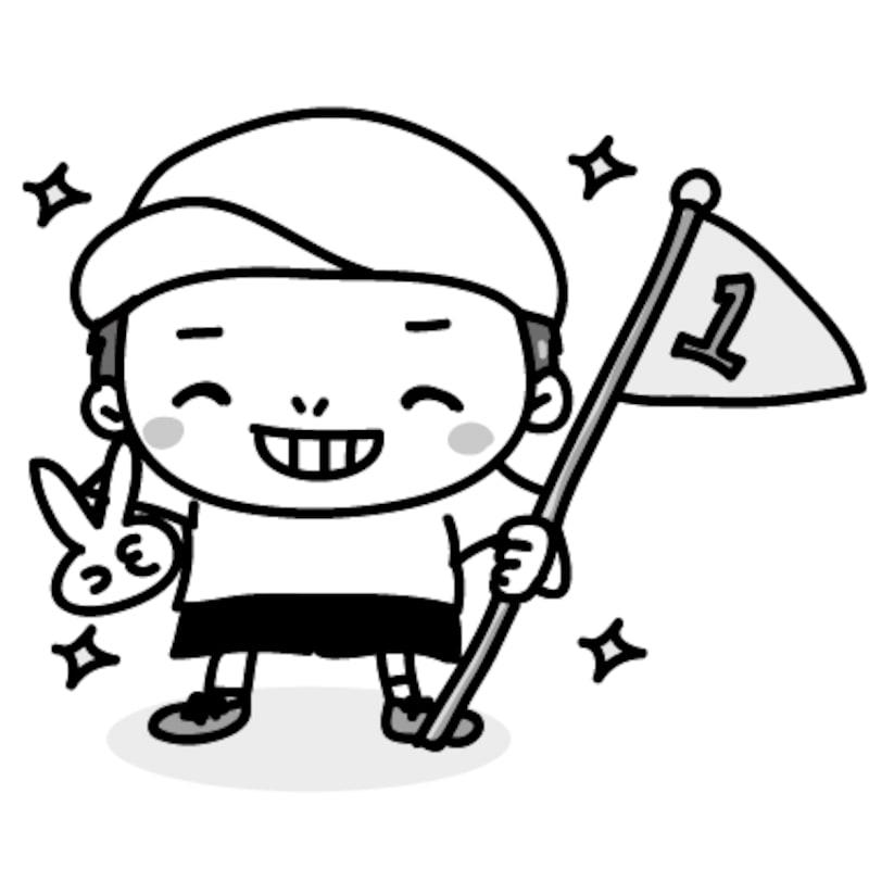 男の子 運動会 イラスト 白黒 かわいい