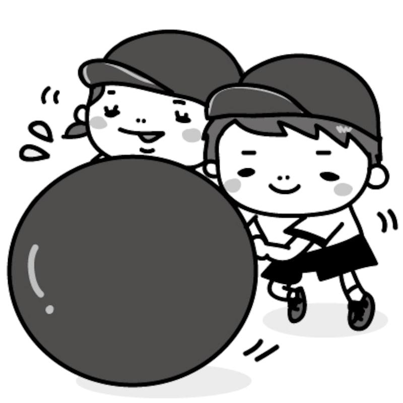 大玉転がし 運動会 イラスト 白黒 かわいい